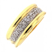 Bague pavage diamants 0.13 carat en or bicolore