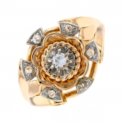 Bague vintage diamants 0.20 carat en or bicolore
