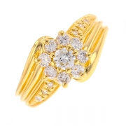 Bague fleur diamants 0.73 carat en or jaune