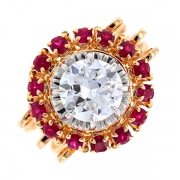 Bague ronde diamant 1.55 carat et rubis en or bicolore