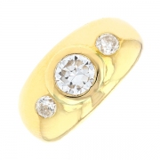 Bague jonc diamants 1 carat en or jaune