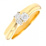 Bague trilogie de diamants 0.30 carat en or jaune