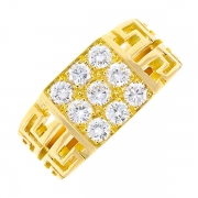 Bague chevalière diamants 1.53 carat en or jaune