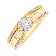 Bague fleur diamants 0.46 carat en or bicolore