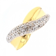 Bague croisillon diamants 0.08 carat en or bicolore