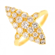 Bague marquise diamants 0.98 carat en or jaune