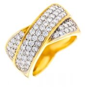 Bague entrelacs pavages diamants 0.97 carat en or jaune