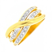 Bague entrelacs diamants 0.08 carat en or bicolore