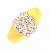 Bague pavage diamants 0.70 carat en or jaune