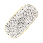 Bague pavage diamants 0.40 carat en or bicolore