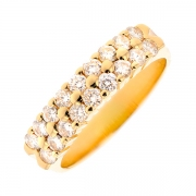 Demi-alliance diamants 0.90 carat en or jaune