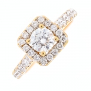 Bague diamants 1.44 carat en or jaune
