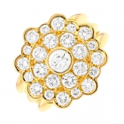 Bague fleur diamants 2.75 carats en or jaune