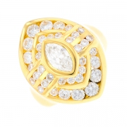 Bague marquise diamants 1.98 carat en or jaune