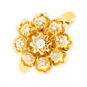 Bague fleur diamants 0.28 carat en or jaune