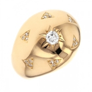 Bague jonc diamants 1.20 carat en or jaune