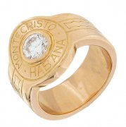 Bague cigare Montecristo Habana diamants 0,50 carat en or jaune