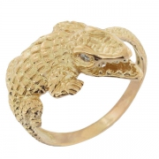 Bague vintage crocodile diamants en or jaune