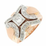 Bague TANK vintage diamants 0,51 carat en or bicolore