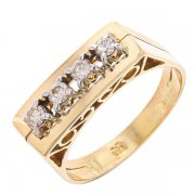 Bague rectangulaire vintage diamants 0,36 carat en or jaune
