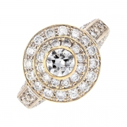 Bague ronde diamants 2.27 carats en or bicolore