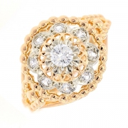 Bague ronde vintage diamants 0.17 carat en or bicolore