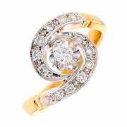 Bague tourbillon diamants 0.34 carat en or bicolore
