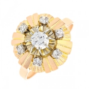 Bague vintage diamant 0.40 carat en or jaune