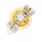 Bague vintage diamants 0.17 carat en or bicolore
