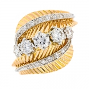 Bague vintage diamants 1.07 carat en or bicolore