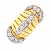 Bague vintage diamants 0.43 carat en or bicolore