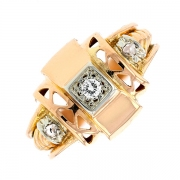 Bague vintage diamants 0.05 carat en or bicolore