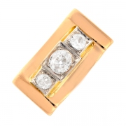 Bague vintage trilogie de diamants 0.47 carat en or jaune