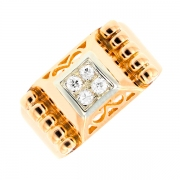 Bague vintage diamants 0.08 carat en or bicolore
