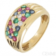 Bague saphirs, �meraudes, rubis et diamants 0,10 carat sur or jaune - Occasion