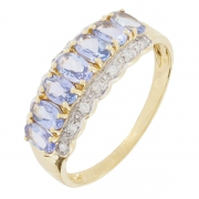 Bague tanzanites et diamants 0,12 carat en or jaune - Occasion