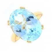 Bague topaze bleue en or jaune