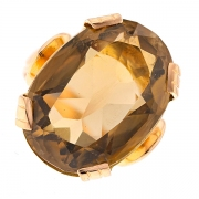 Bague citrine 16 carats en or jaune