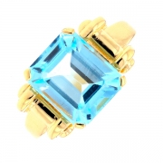 Bague topaze bleue 5.60 carats en or jaune