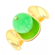 Bague agate verte en or jaune