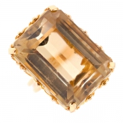 Bague quartz fumé en or jaune 10.85 grs