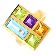 Bague arlequin pierres fines en or jaune 9.33grs