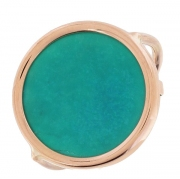 Bague Disc turquoise Ginette NY en or rose
