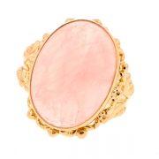 Bague quartz rose cabochon en or jaune