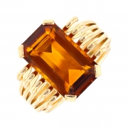 Bague vintage citrine en or jaune 8.85grs