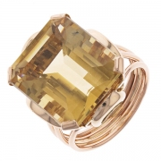 Bague rectangulaire vintage citrine en or jaune