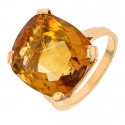 Bague vintage citrine de 11.32 carats en or jaune