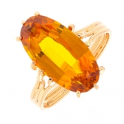 Bague vintage citrine 3.80 carats en or jaune