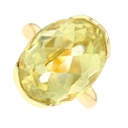 Bague vintage citrine 11.30 carats en or jaune