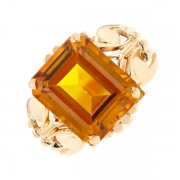 Bague vintage citrine en or jaune